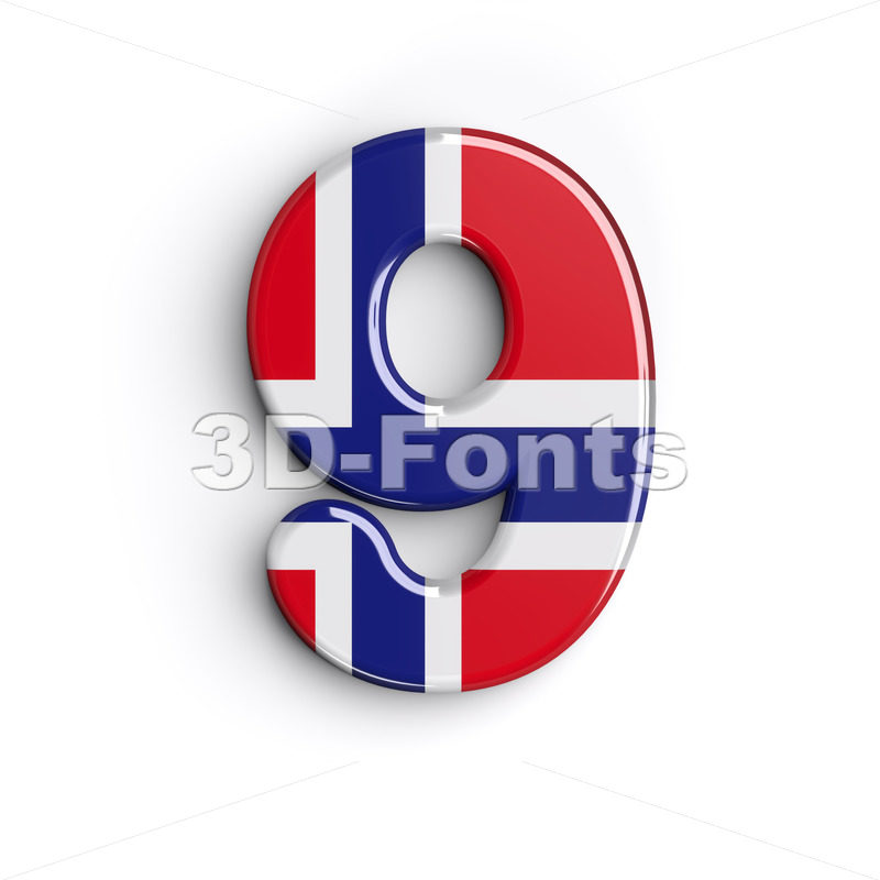 Norway number 9 - 3d digit - 3D Fonts Collections | Top Quality Letters, Numbers and Symbols !
