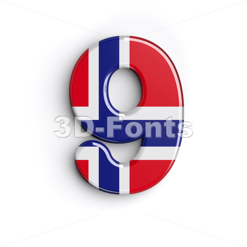 Norway number 9 – 3d digit – 3D Fonts Collections | Top Quality Letters, Numbers and Symbols !