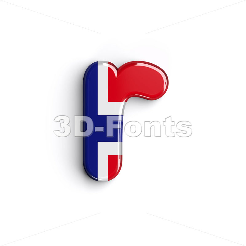Small Norway character R - Lower-case 3d letter - 3D Fonts Collections | Top Quality Letters, Numbers and Symbols !