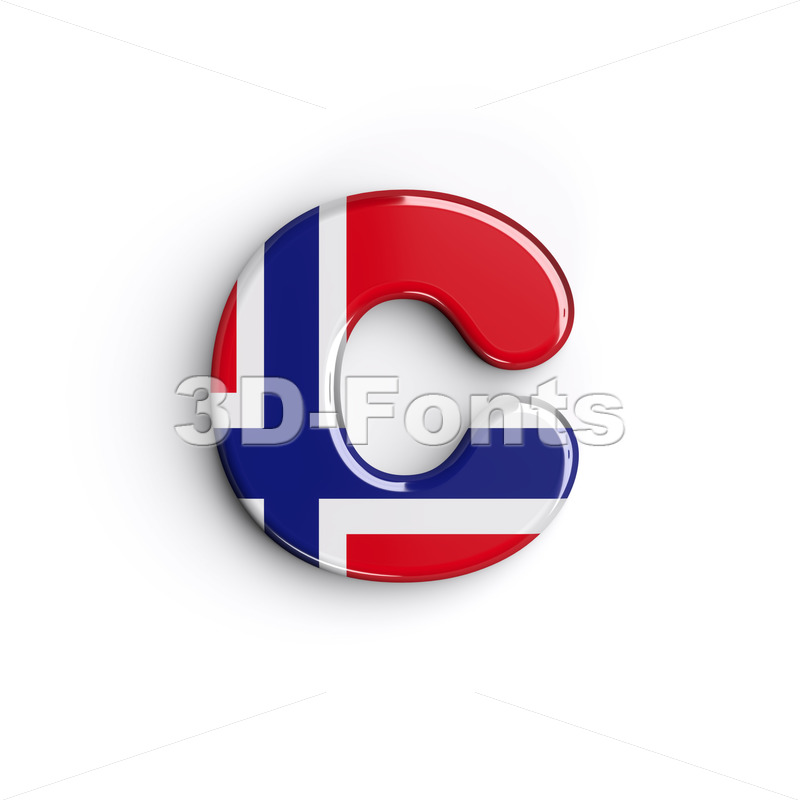 Small Norway font C - Lowercase 3d character - 3D Fonts Collections | Top Quality Letters, Numbers and Symbols !