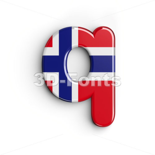 flag of Norway alphabet font Q - Lower-case 3d letter - 3D Fonts Collections | Top Quality Letters, Numbers and Symbols !