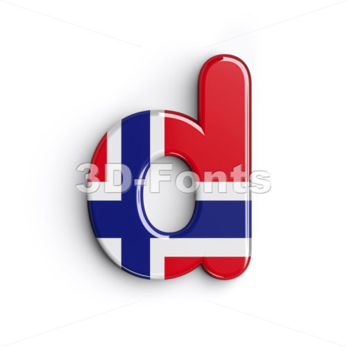 flag of Norway alphabet letter D - Lowercase 3d font - 3D Fonts Collections | Top Quality Letters, Numbers and Symbols !
