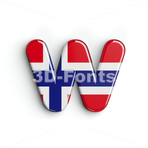 flag of Norway alphabet letter W - Lower-case 3d character - 3D Fonts Collections | Top Quality Letters, Numbers and Symbols !
