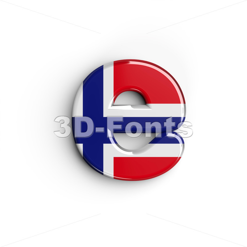 norwegian flag 3d character E - Lower-case 3d letter - 3D Fonts Collections | Top Quality Letters, Numbers and Symbols !