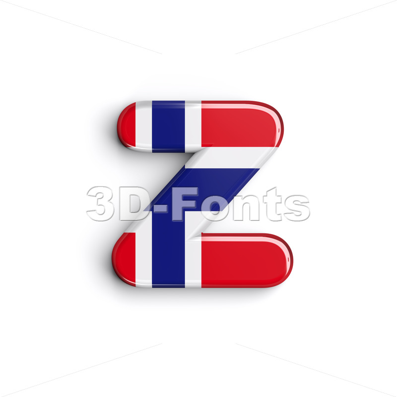Norwegian Flag 3d Character Z Lower Case Font On White Background
