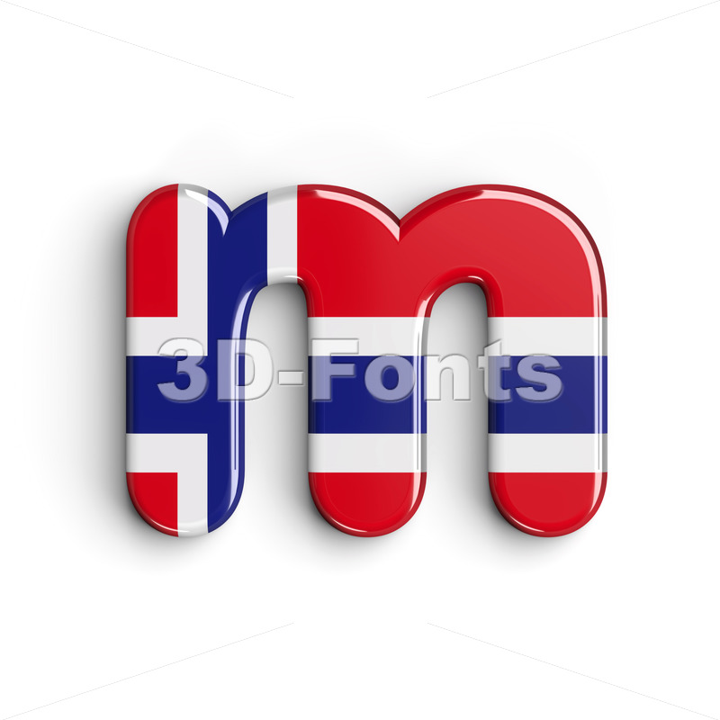 norwegian flag 3d font M - Lowercase 3d letter - 3D Fonts Collections | Top Quality Letters, Numbers and Symbols !