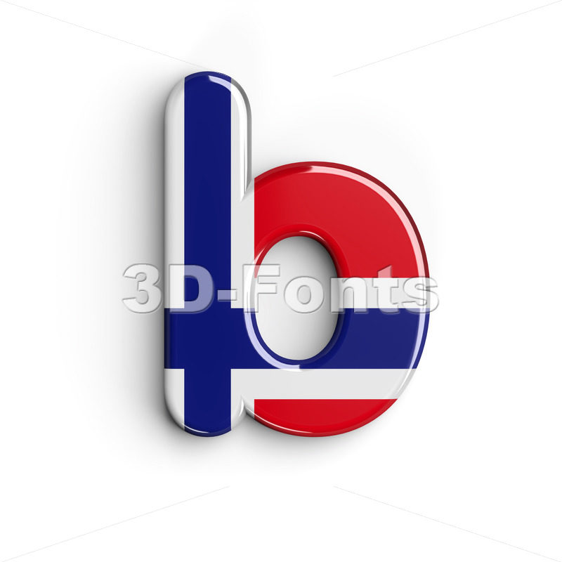 norwegian flag alphabet character B - Lower-case 3d letter - 3D Fonts Collections | Top Quality Letters, Numbers and Symbols !