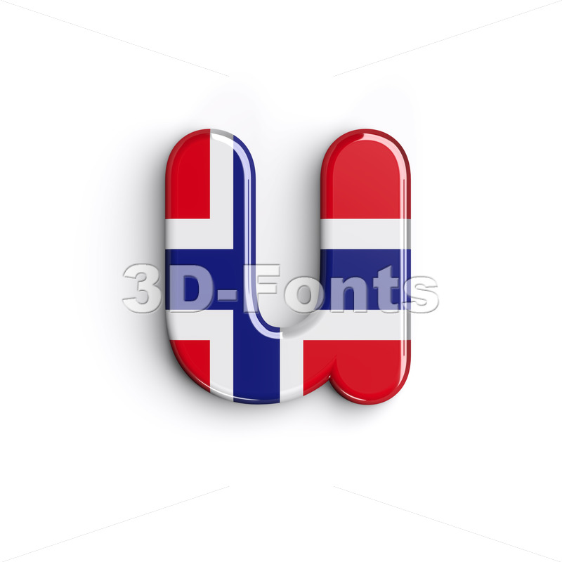 norwegian flag alphabet character U - Small 3d letter - 3D Fonts Collections | Top Quality Letters, Numbers and Symbols !