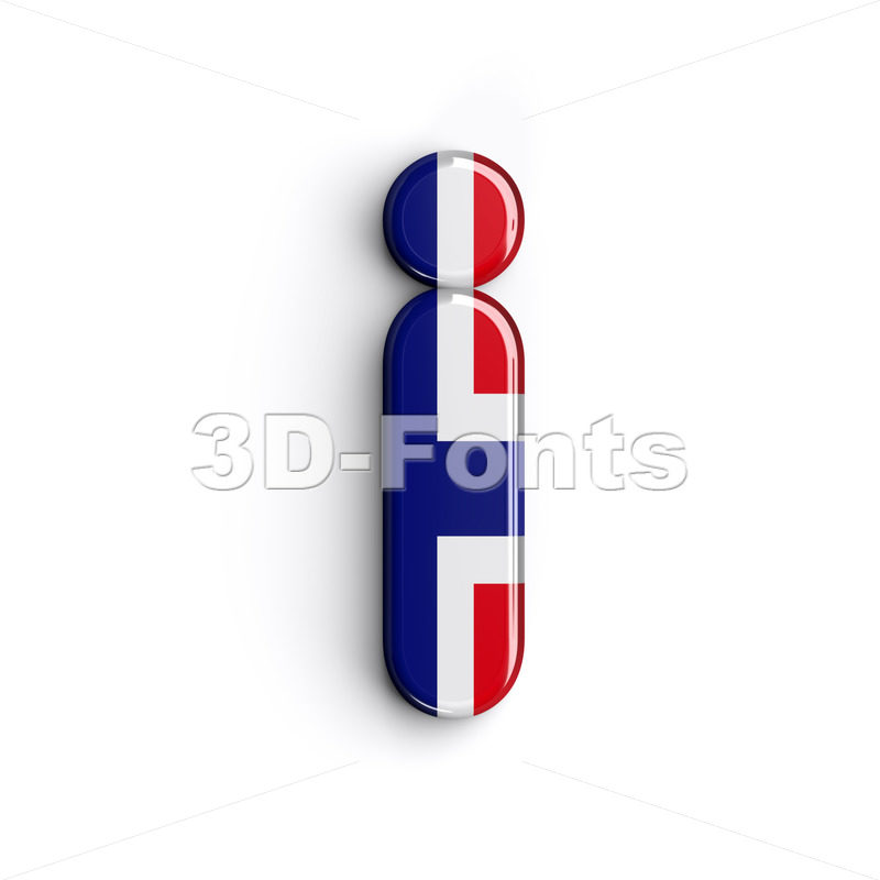 norwegian flag alphabet letter I - Small 3d character - 3D Fonts Collections | Top Quality Letters, Numbers and Symbols !
