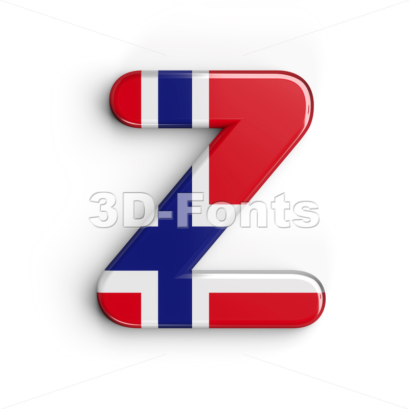 norwegian flag alphabet letter Z - Upper-case 3d font - 3D Fonts Collections | Top Quality Letters, Numbers and Symbols !