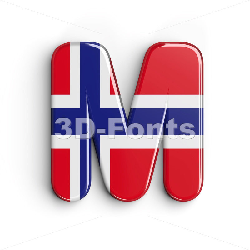norwegian flag character M - Capital 3d letter - 3D Fonts Collections | Top Quality Letters, Numbers and Symbols !