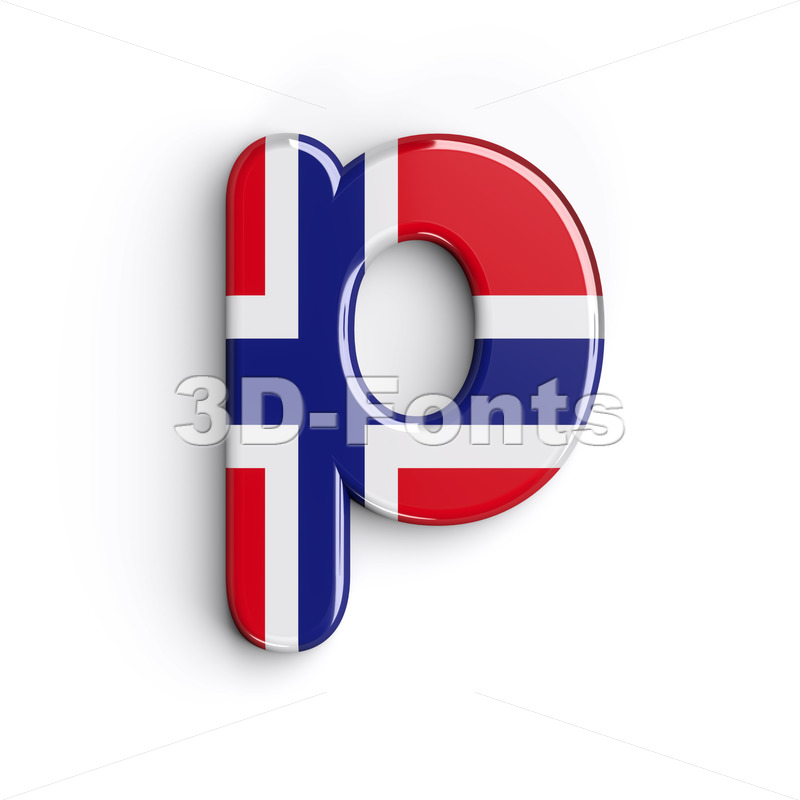 norwegian flag character P - Lowercase 3d font - 3D Fonts Collections | Top Quality Letters, Numbers and Symbols !