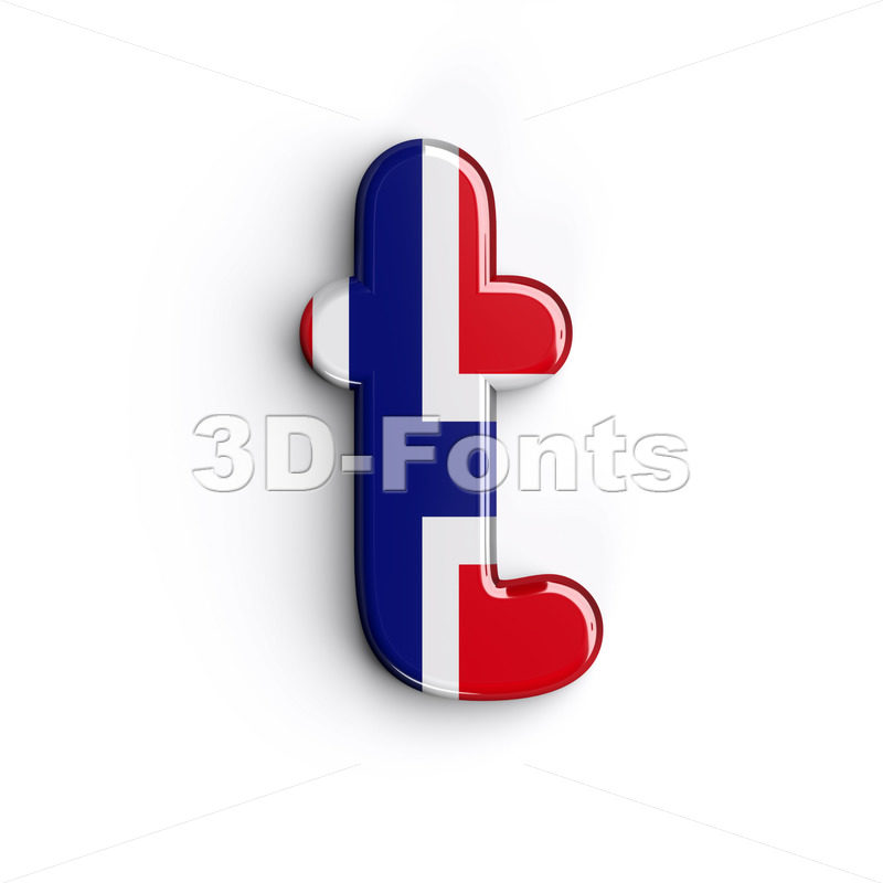 norwegian flag character T - Lower-case 3d letter - 3D Fonts Collections | Top Quality Letters, Numbers and Symbols !