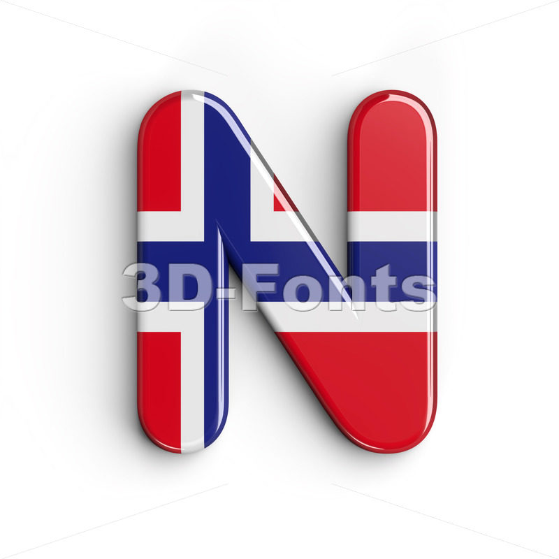 norwegian flag font N - Capital 3d letter - 3D Fonts Collections | Top Quality Letters, Numbers and Symbols !