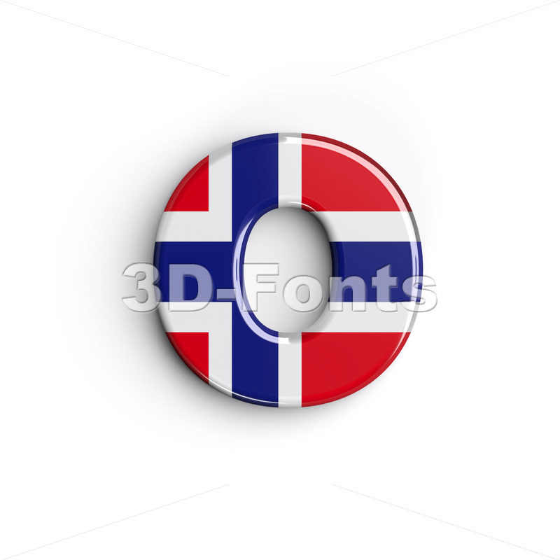 norwegian flag font O - Small 3d letter - 3D Fonts Collections | Top Quality Letters, Numbers and Symbols !