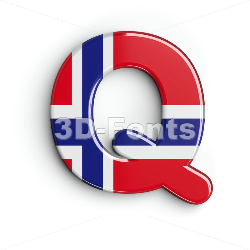 norwegian flag font Q - Upper-case 3d character - 3D Fonts Collections | Top Quality Letters, Numbers and Symbols !