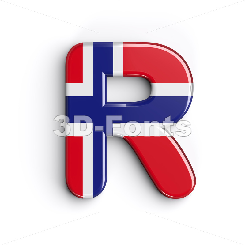 norwegian flag letter R - Uppercase 3d font - 3D Fonts Collections | Top Quality Letters, Numbers and Symbols !