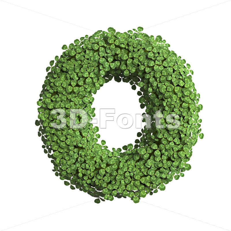 3d Upper-case letter O covered in clover texture - 3D Fonts Collections | Top Quality Letters, Numbers and Symbols !