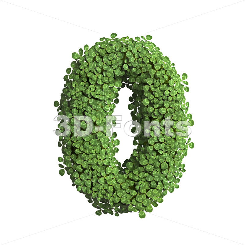clover number 0 - 3d digit - 3D Fonts Collections | Top Quality Letters, Numbers and Symbols !