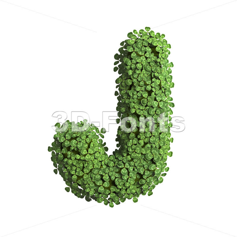 ecological font J - Uppercase 3d character - 3D Fonts Collections   Top Quality Letters, Numbers and Symbols !