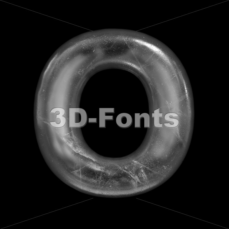 3d Upper-case letter O covered in ice texture - 3D Fonts Collections | Top Quality Letters, Numbers and Symbols !