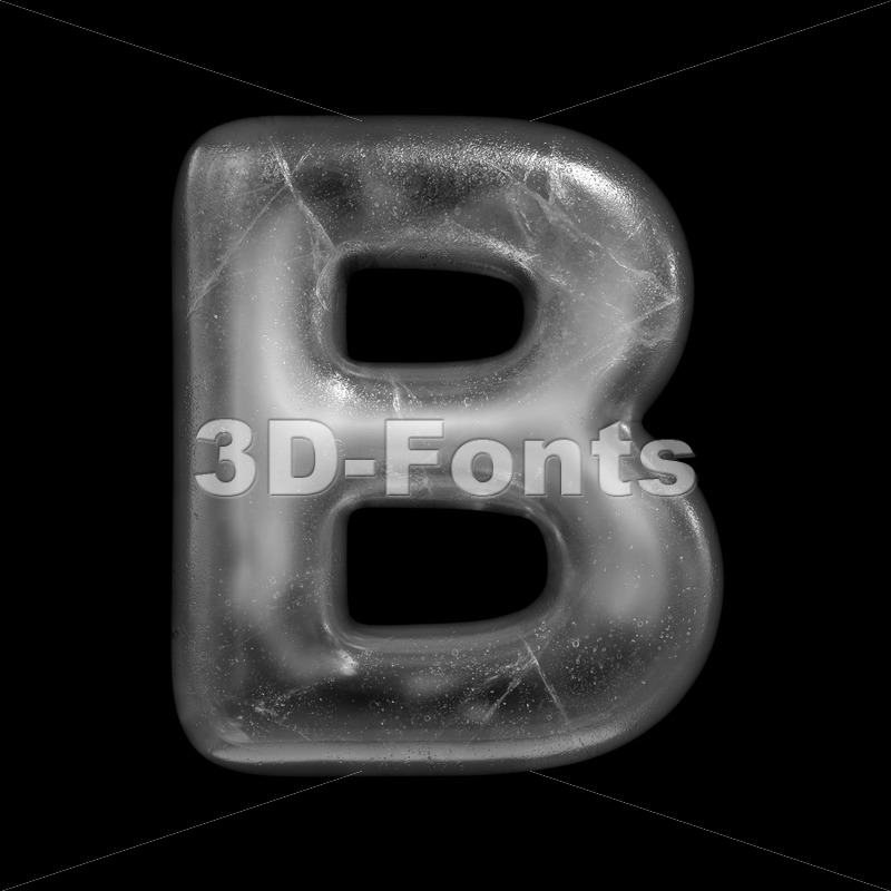 Capital icy letter B - Upper-case 3d font - 3D Fonts Collections | Top Quality Letters, Numbers and Symbols !