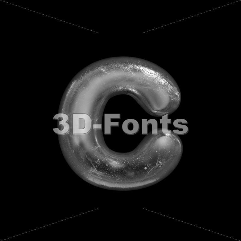 Small ice font C - Lowercase 3d character - 3D Fonts Collections | Top Quality Letters, Numbers and Symbols !