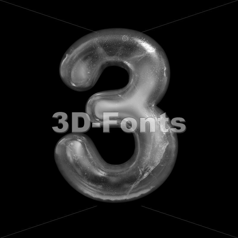 ice number 3 - 3d digit - 3D Fonts Collections | Top Quality Letters, Numbers and Symbols !