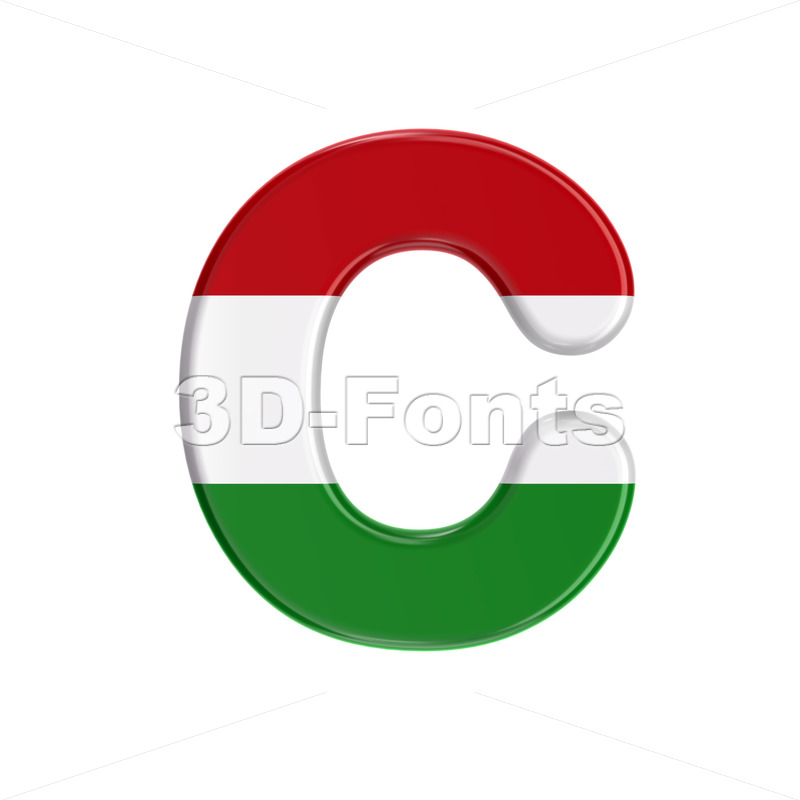 3d Hungary flag font C - Capital 3d letter - 3D Fonts Collections | Top Quality Letters, Numbers and Symbols !