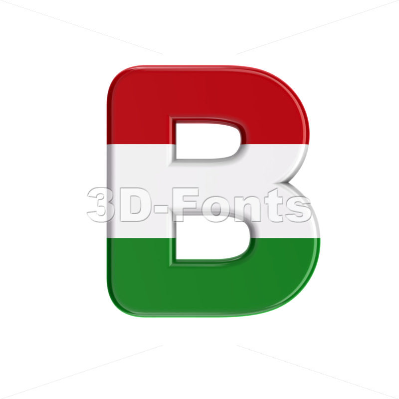 Capital hungarian national flag letter B - Upper-case 3d font - 3D Fonts Collections | Top Quality Letters, Numbers and Symbols !