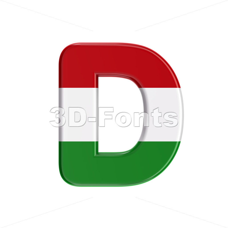 hungarian font D - Capital 3d character - 3D Fonts Collections | Top Quality Letters, Numbers and Symbols !