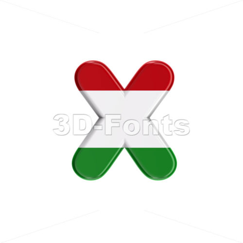 Hungary flag 3d font X - Small 3d letter - 3D Fonts Collections | Top Quality Letters, Numbers and Symbols !