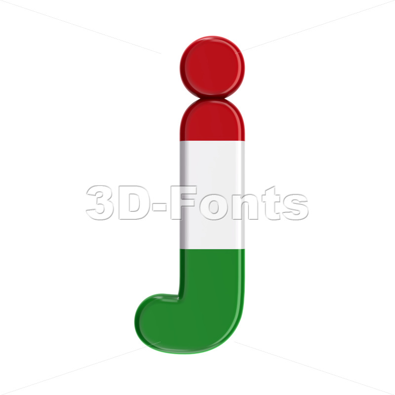 Hungary flag alphabet character J - Lowercase 3d font - 3D Fonts Collections | Top Quality Letters, Numbers and Symbols !