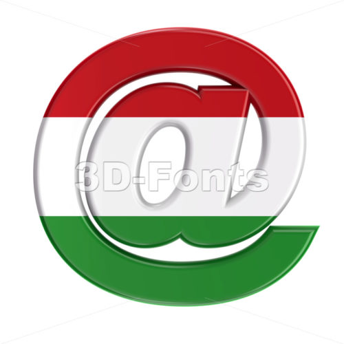 Hungary flag at-sign - 3d arobase symbol - 3D Fonts Collections | Top Quality Letters, Numbers and Symbols !