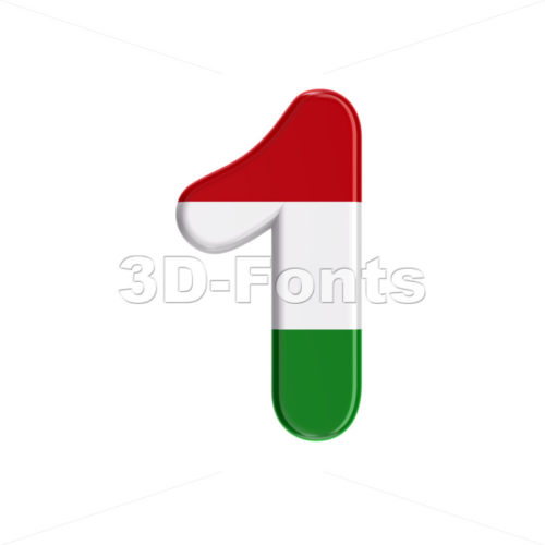 Hungary flag digit 1 - 3d number - 3D Fonts Collections | Top Quality Letters, Numbers and Symbols !
