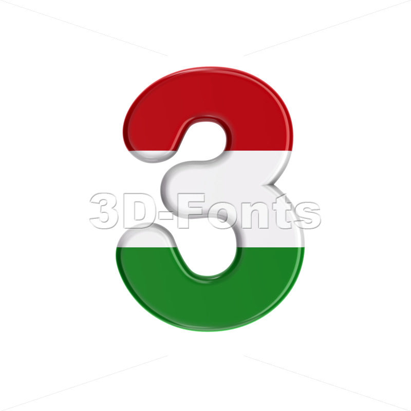 Hungary flag digit 3 - 3d number - 3D Fonts Collections   Top Quality Letters, Numbers and Symbols !