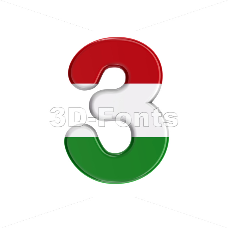 Hungary flag digit 3 - 3d number - 3D Fonts Collections | Top Quality Letters, Numbers and Symbols !