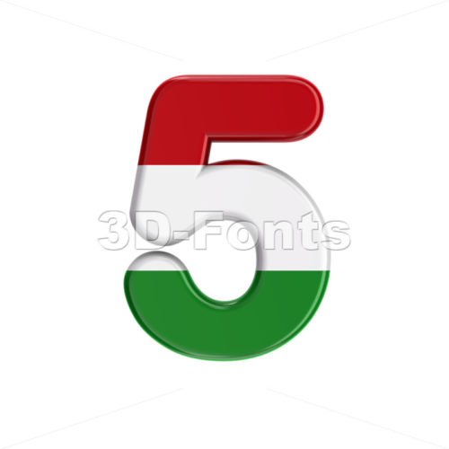 Hungary flag digit 5 - 3d number - 3D Fonts Collections | Top Quality Letters, Numbers and Symbols !