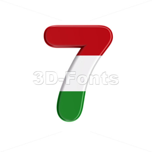 Hungary flag digit 7 - 3d number - 3D Fonts Collections | Top Quality Letters, Numbers and Symbols !