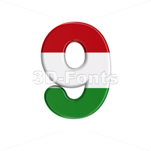 Hungary flag digit 9 - 3d number - 3D Fonts Collections | Top Quality Letters, Numbers and Symbols !