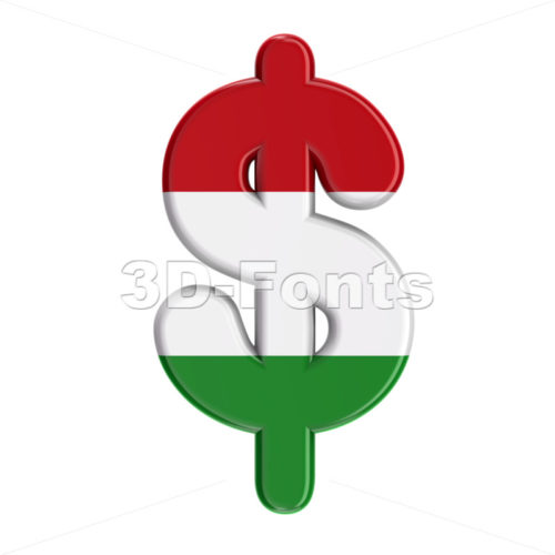 Hungary flag dollar currency sign - 3d money symbol - 3D Fonts Collections | Top Quality Letters, Numbers and Symbols !