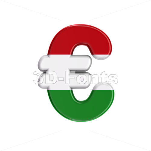 Hungary flag euro currency sign - 3d business symbol - 3D Fonts Collections | Top Quality Letters, Numbers and Symbols !