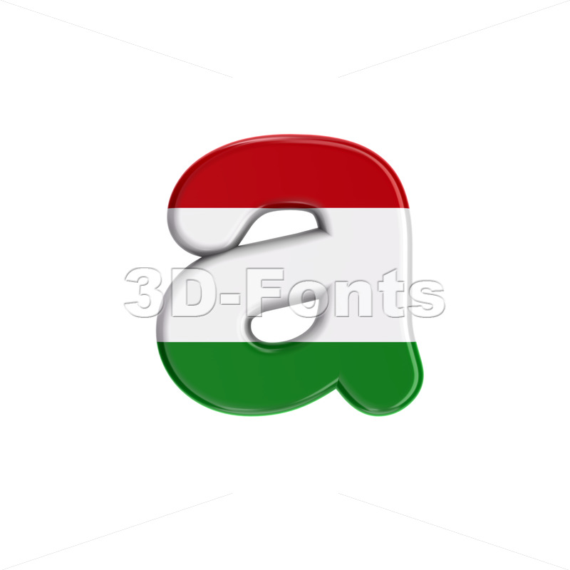 Hungary flag font A - Lowercase 3d letter - 3D Fonts Collections | Top Quality Letters, Numbers and Symbols !