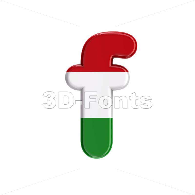 Hungary flag letter F - Small 3d font - 3D Fonts Collections | Top Quality Letters, Numbers and Symbols !