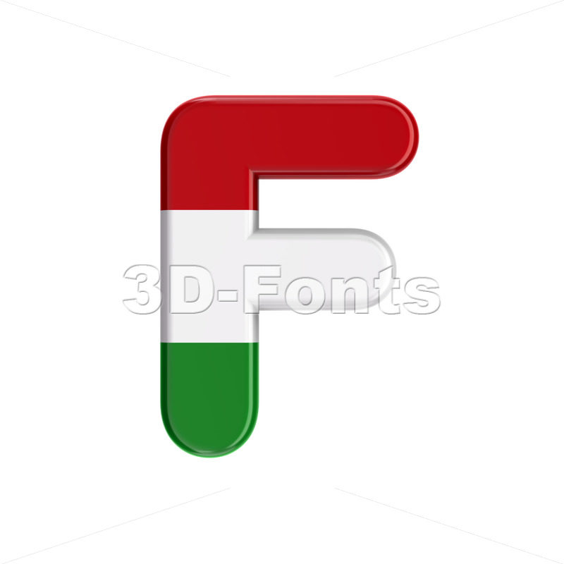 Hungary flag letter F - Upper-case 3d font - 3D Fonts Collections | Top Quality Letters, Numbers and Symbols !