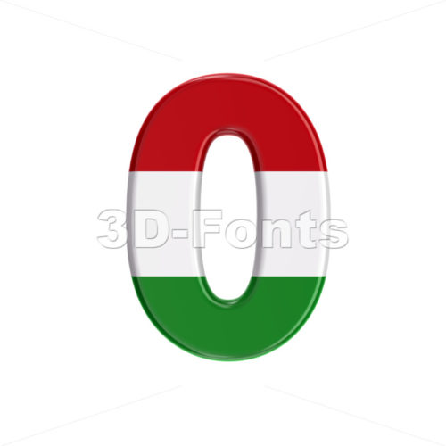 Hungary flag number 0 - 3d digit - 3D Fonts Collections | Top Quality Letters, Numbers and Symbols !
