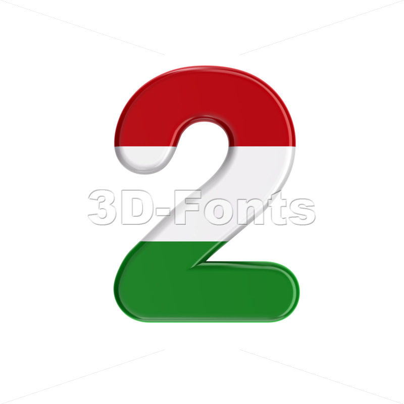 Hungary flag number 2 - 3d digit - 3D Fonts Collections | Top Quality Letters, Numbers and Symbols !