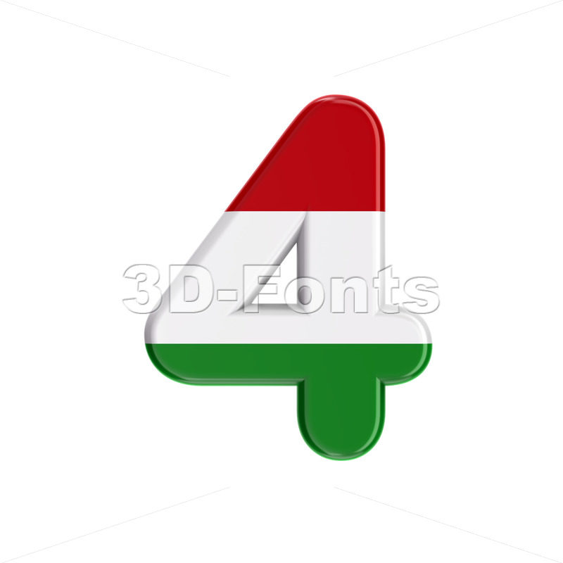 Hungary flag number 4 - 3d digit - 3D Fonts Collections | Top Quality Letters, Numbers and Symbols !