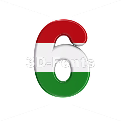 Hungary flag number 6 - 3d digit - 3D Fonts Collections | Top Quality Letters, Numbers and Symbols !