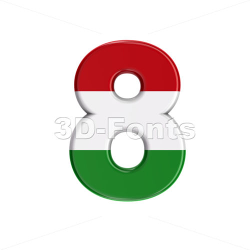 Hungary flag number 8 - 3d digit - 3D Fonts Collections | Top Quality Letters, Numbers and Symbols !